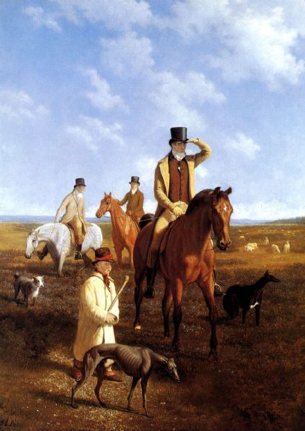 Agasse, Jacques Laurent: Lord Rivers and Friends Coarsing. Fine Art Print.  (00651)
